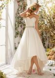 Ivory Belt Sweetheart Asymmetric Short Front Long Back Wedding Dress