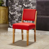 Concise Wooden Frame Restaurant Chair with Bright Red Upholstery (SP-EC860)