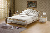 Italian Style Solid Wood Bedroom Furniture Genuine Leather Bed