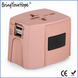 Color Muliti-Country Universal Travel Power Adaptor with 2 USB (XH-UC-015)