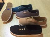 Ladies Fashion Shoes with Canvas Upper and Rivet Decoration