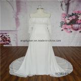 Unique Neck Line Design Chiffon Wedding Dress