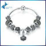 Vintage Snowflake Pendant & High Quality Black Murano Beads Bracelets & Bangles for Women Jewelry