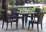 Simple Black PE Rattan Furniture with Armless and Armrest Chairs