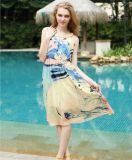 High Quality European and American Style Suspender Printing Chiffon Dress