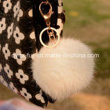 Factory Wholesale Real Rabbit Fur Ball Keychain for Decoration
