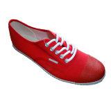 Rubber Outsole Toe Cap Red Canvas Shoes for Women Men