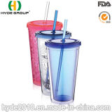 Customized BPA Free Double Wall Plastic Tumbler with Straw (HDP-0019)