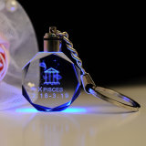 LED 3D Laser Engraving Crystal Glass Key Chain for Gift