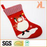 Quality Embroidery/Applique Christmas Decoration Felt Tartan Snowman Style Stocking