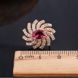 Fashion New Champagne Zircon Flower Silver Earrings