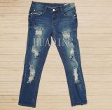 Newest Fashion Design Custom Women′s Blue Denim Jeans Hdlj0062