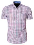Men′s Short Sleeved Plaid Dress Shirt