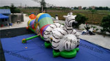 Animal Zoo Long Inflatable Tunnel Obstacle with Slide