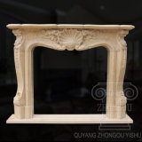 Simple Pattern Yellow Marble Fireplace Sculpture in 2018