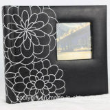 Flower Decorated Black Leather Photo Album with Square Window