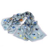 Lady 100% Pure Silk Butterfly Printed Long Scarf