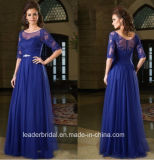 Blue Formal Gown Lace Sleeves Prom Evening Dresss Y201615