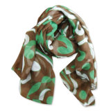 Lady Fashion Polyester Printed Voile Scarf (YKY4132)