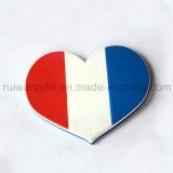Heart Shape Flag Soft PVC Rubber Coffee Pad for Souvenirs