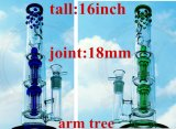 Colored EXW Dual Birdcage Percolator High Quality Recycler Tobacco Glass Smoking Water Pipe