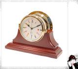 Nautical Clock Single Mahogany Finish