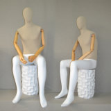 Fabric Wrapped Male Sitting Mannequin with Wood Arm