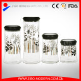 Wholesale Glass Jar with Lid Golden Printing