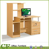 Practical Wooden Computer Table with Bookshelf