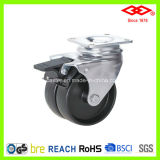 Black Plastic Twin Wheel Caster (P190-30B075X23DS)