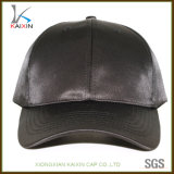 Custom Fashion Black Satin 6 Panel Blank Baseball Cap
