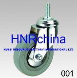 Grey Rubber Wheel Thread Stem Top Industrial Caster