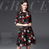 Fashionable Rose Printed Slim Women Dress with Best Price
