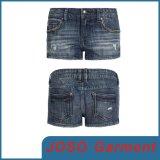 Women Girls Wrinkles Denim Short Jeans (JC6033)