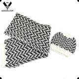 Fashion Herringbone Jacquard Pattern Scarf Beanie Thick Knit Set