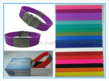 Silicone ID Bracelet with Stainless Steel Buckle and Clasp (XXT 10018)