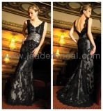 Mother of The Bride Dress Silver Sash Black Lace Evening Dresses Custom Designer Prom Dress (CY2)