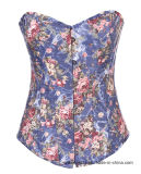 Women′s Palace Style Corset Strapless Floral Waist Trainer Corset