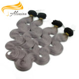 100 Grey Human Hair Weaving Wholesale Ombre Gray Hair