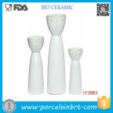 Set of 3 Ceramic White Porcelain Flower Happy Family Vase