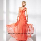Women Chiffon Sleeveless One-Shoulder Evening Party Prom Dress