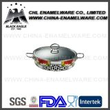 Wholesale Enamel Coated Cast Iron Fry Pan with Glass Lid