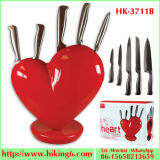 Heart Knife Block Red, Kitchen Knife Set with Block