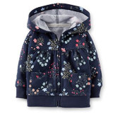 Baby Girl′s Navy Floral French Terry Hooded Cardigan