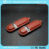 RoHS Approved Classic Brown Leather Flash Drive (ZYF1415)