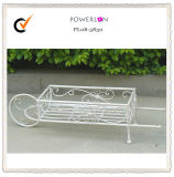 Creamy White Iron Handcart Planter Holder with Wheel