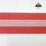 1.5 Inch Red and Pink Striped Cotton Polyester Webbing