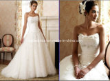 A-Line Sweetheart Floor Length Court Train Applique Tulle Bridal Wedding Gown We111