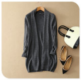 Ladies′ Knitwear Pure Cashmere Knitting Long Cardigan Coat