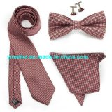 High Quality Microfiber Checkered Necktie Bowtie Hankerchief Tie Set with Cufflink